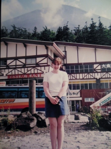 This is me on one of my extended trips to Japan.. and my decidedly white legs, sans unsightly veins.